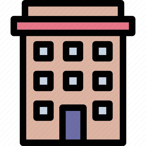 building, commercial, hotel, office, real estate icon