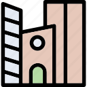 apartments, building, commercial, flats, shopping mall icon
