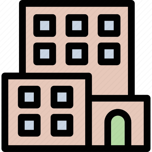 apartments, building, city building, flats, residential structure icon