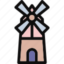 dutch windmill, landmark, mill, tower, windmill icon