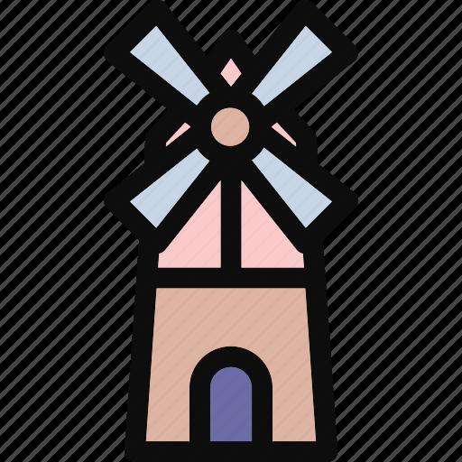 dutch windmill, landmark, mill, tower, windmill icon