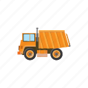 cartoon, construction, equipment, heavy, orange, truck, vehicle icon