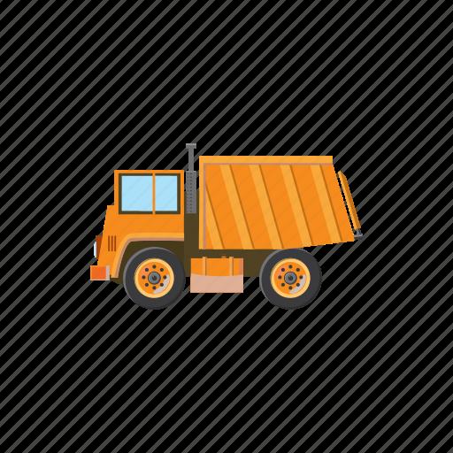 cartoon, construction, equipment, heavy, orange, truck, vehicle icon