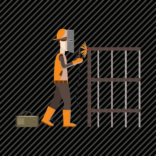 builder, building, cartoon, construction, industrial, welder, worker icon