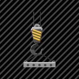 cartoon, concrete slab, construction, crane, heavy, hook, lift icon