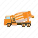 car, cartoon, concrete, construction, equipment, industry, vehicle icon