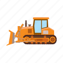 building, bulldozer, cartoon, construction, equipment, industry, tractor icon