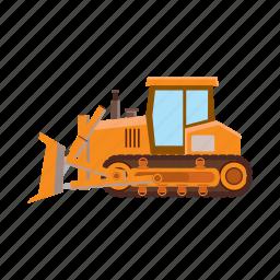 building, bulldozer, cartoon, construction, equipment, industry, tractor icon