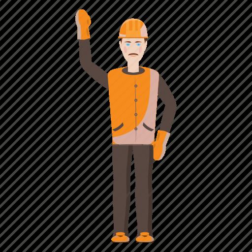 builder, cartoon, gesture, hands, tool, work, worker icon