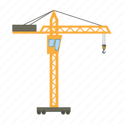 building, cartoon, construction, crane, equipment, heavy, steel icon