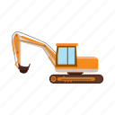 building, cartoon, construction, digger, excavator, machine, vehicle icon