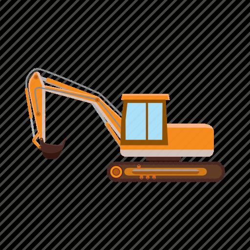 building, cartoon, construction, digger, excavator, machine, vehicle icon