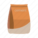 bag, cartoon, cement, concrete, construction, material, sack icon