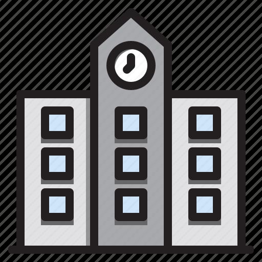 building, city, construction, school icon