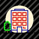 city, construction, motel, office, skyscrapers icon