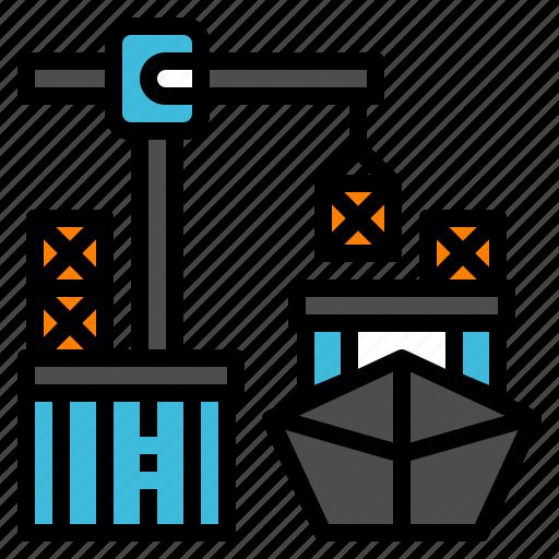 boat, dock, logistic, port, transportation icon