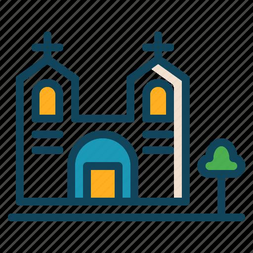 building, christian, church, pray icon icon