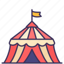 amusement, building, construction, fun, park, recreation, tent icon