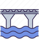 bridge, building, construction, pillar, river, waterway icon