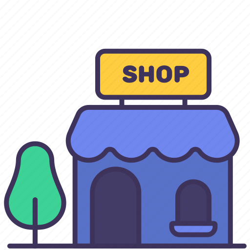 building, construction, exterior, mart, shop, store, tree icon