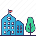 apartments, buildings, construction, exterior, place, school, tree icon