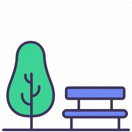Bench, building, garden, park, relax, sit, tree icon - Download on Iconfinder