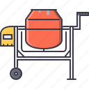 building, concrete, interior, mixer, repairs icon