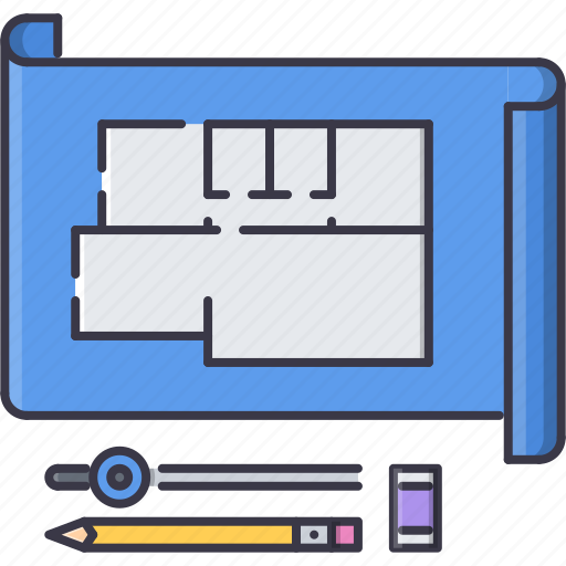 building, compass, drawing, eraser, interior, pencil, repairs icon
