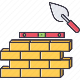 brick, building, construction, knife, level, putty, wall icon