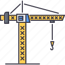 building, crane, hook, interior, machine, repairs icon