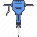 building, hammer, interior, jackhammer, repairs, tool icon