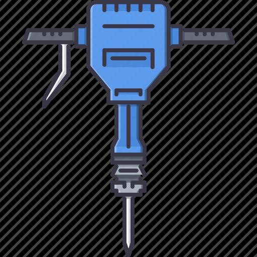 building, hammer, interior, jackhammer, repairs, tool icon