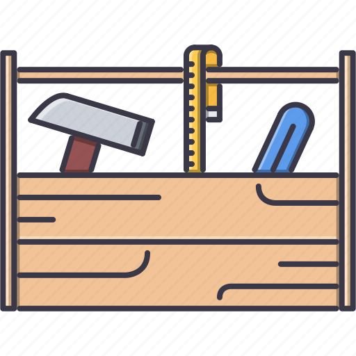 box, hammer, measuring, repairs, tape, tool, tools icon
