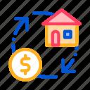 exchange, house, money, sign icon