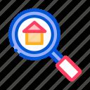 estate, magnifier, search icon