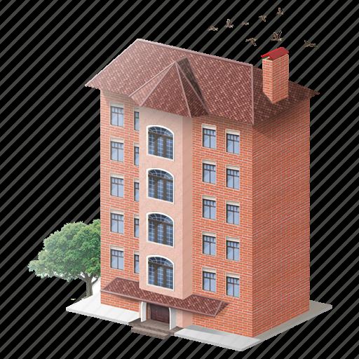 bricks, building, house, people icon