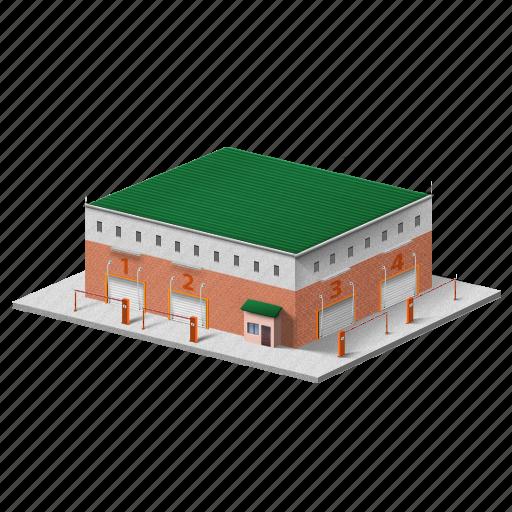 building, car, medium garage, security garage icon