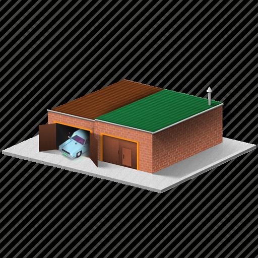 building, car, garage, poor, small icon