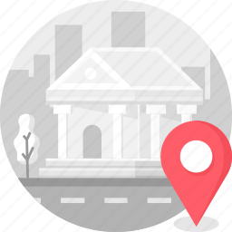 bank, building, city, finance, location icon