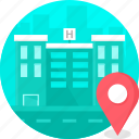 building, clinic, hospital, location, medical icon
