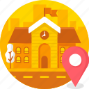 building, college, education, location, real estate, school icon