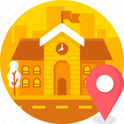 building, college, education, location, real estate, school icon
