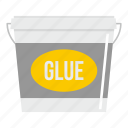 bucket, container, glue, home, industry, paint, white