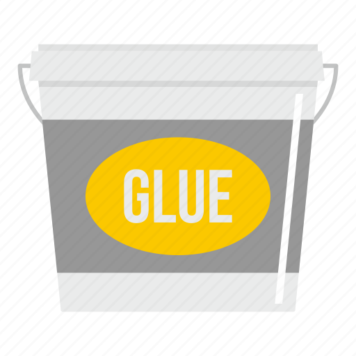 bucket, container, glue, home, industry, paint, white icon