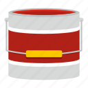 art, bucket, container, decoration, liquid, paint, white icon