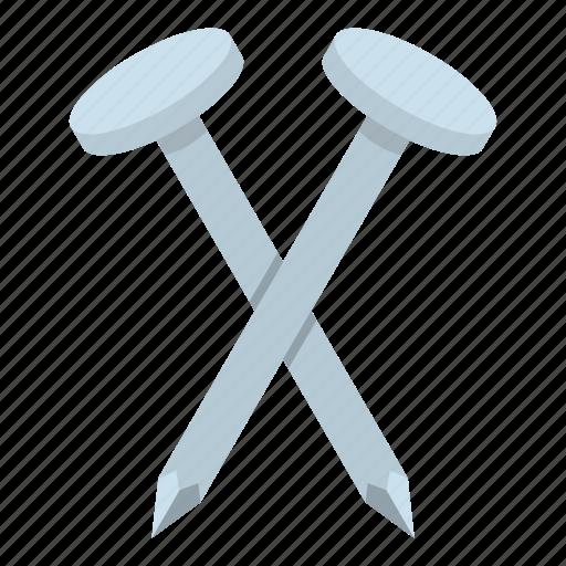 construction, iron, metal, nail, steel, tool, white icon