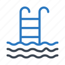 ladder, pool, realestate, swimming, water icon