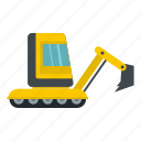 bulldozer, crawler, digger, equipment, excavation, excavator, tractor icon