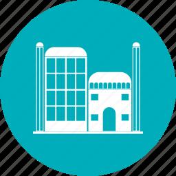 city, landmark, offices, travel icon