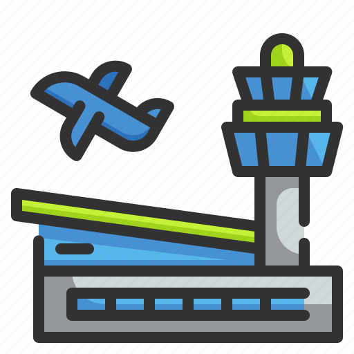airplane, airport, architecture, building, transportation icon